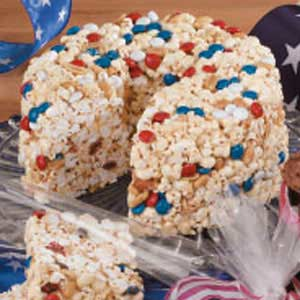 patriotic popcorn or rice crispy cake