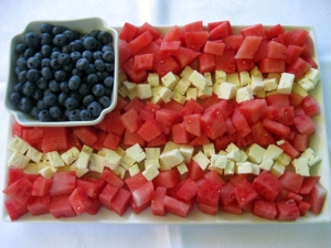 patriotic watermelonfeta blue berry-flag